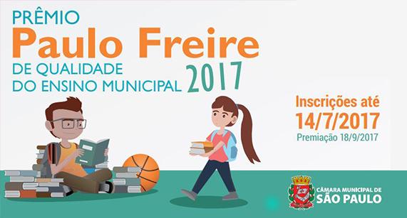 Abertas inscrições para o Prêmio Paulo Freire 2017